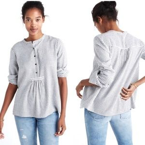 Madewell Market Black White Peasant Popover Top L